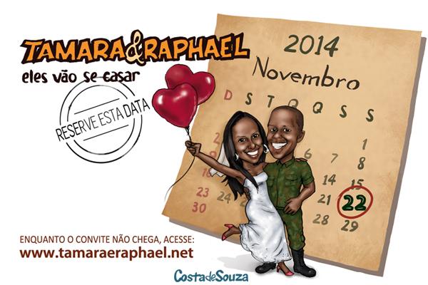 caricatura casamento noivos save the date