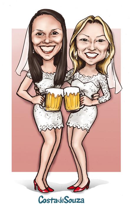 caricatura lgbt casamento noivas
