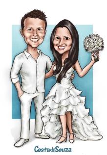 caricatura noivos casamento