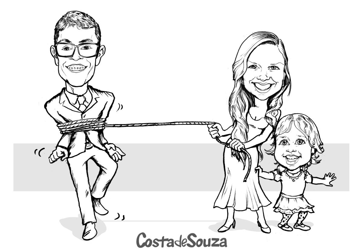Caricatura Noivos Filha Preto E Branco Costa De Souza