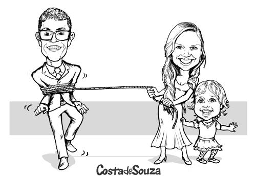 Caricatura De Noivos Com Filha Em Preto E Branco Costa De Souza