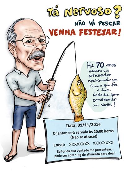 convite aniversário caricatura anos