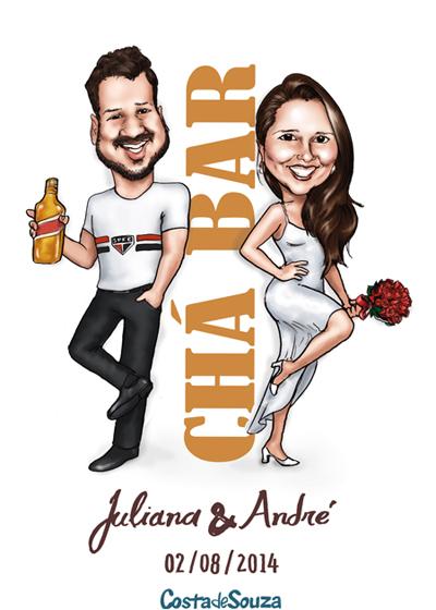 convite cha bar caricatura
