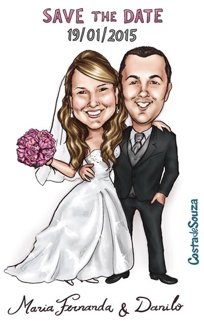 caricatura noivos casamento save