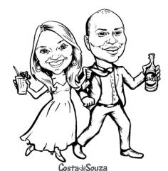 caricatura noivos preto branco