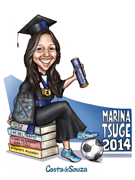 caricatura formatura administração atleta