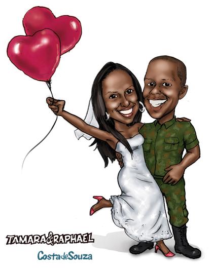caricatura noivos casamento online