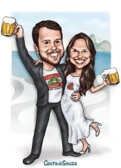 caricatura noivos casamento rio