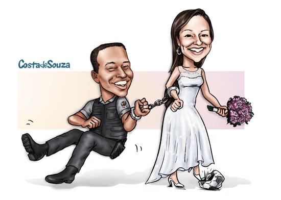 caricatura noivos puxando casamento