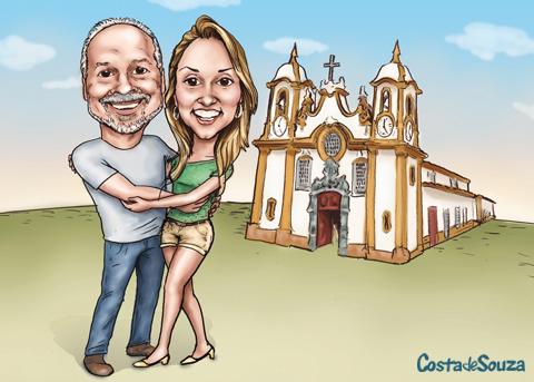 caricatura namorados casal foto