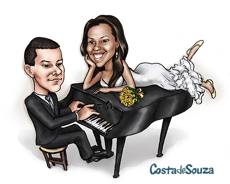 caricatura casamento noivos piano