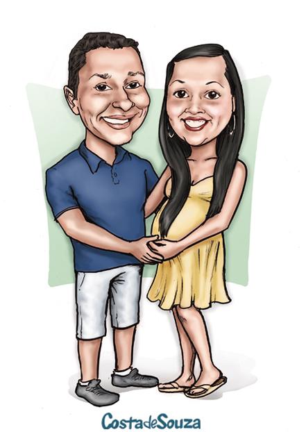 caricatura convite fralda grávida
