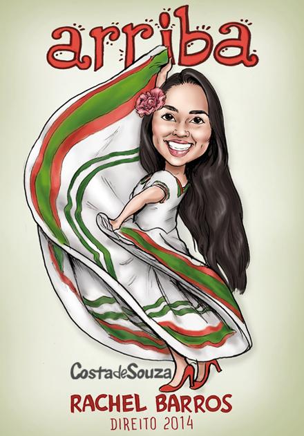 caricatura formatura festa mexicana