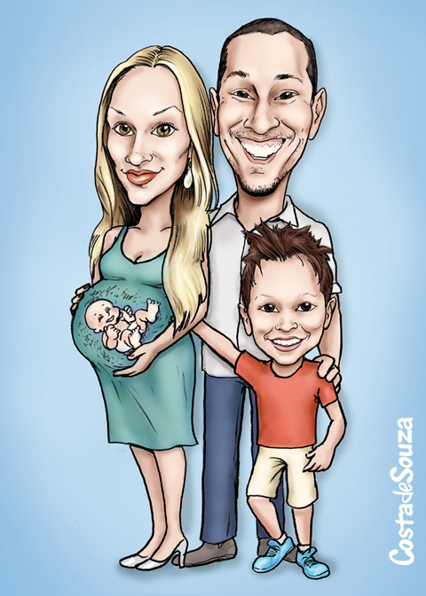 caricatura mãe família bebê grávida