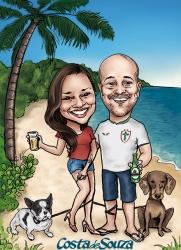caricatura casal namoro praia cachorro