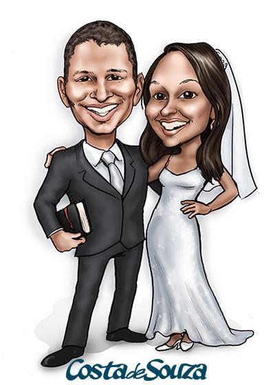 caricatura casamento noivos bíblia