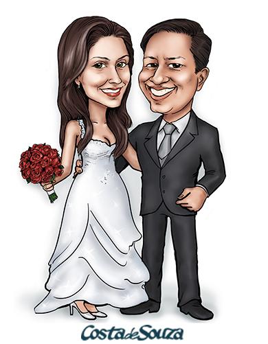 caricatura noivos casamento costa