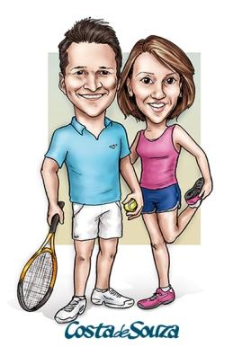 casal corrida tênis esporte caricatura