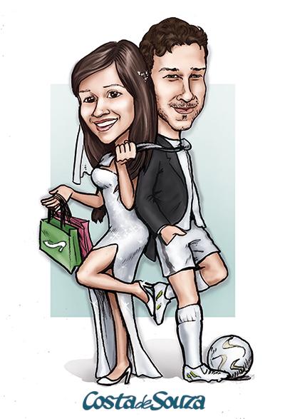 caricatura casamento noivos futebol compras