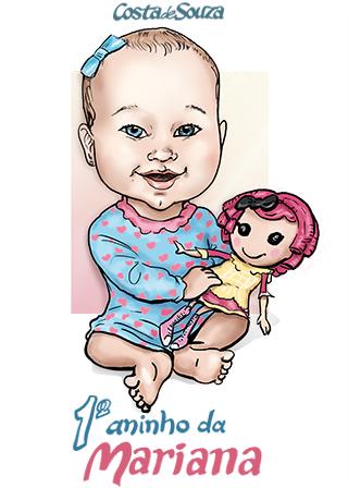 caricatura 1 ano aniversário menina
