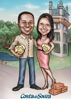 caricatura casal engenharia