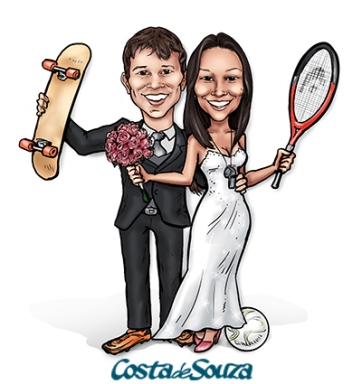 caricatura casamento esporte física