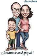 caricatura dia dos pais presente família