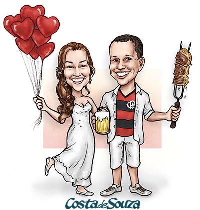 caricatura csamento noivos churrasco