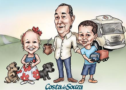 caricatura família filhos caminhão
