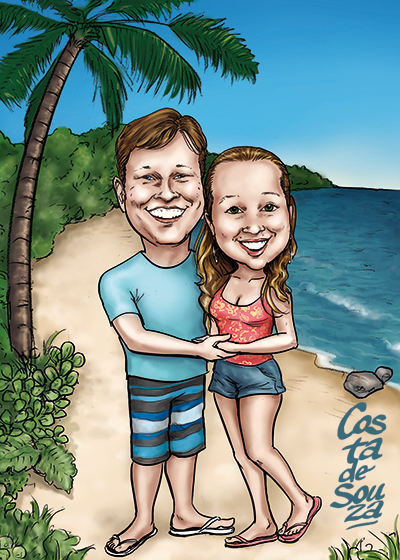 caricatura namorados casal praia