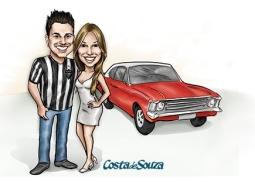 caricatura namorados carro cor