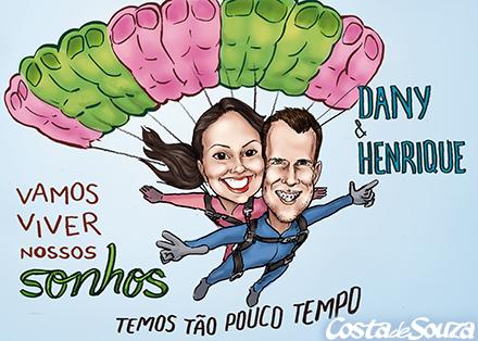 caricatura namorados paraquedas
