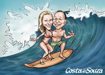 caricatura namorados surf presente