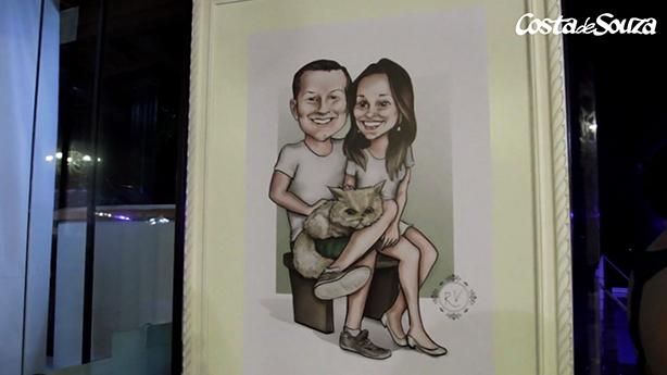caricatura quadro casamento noivos