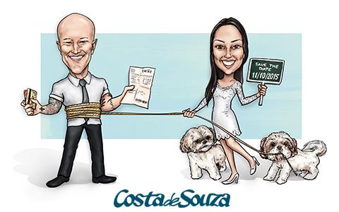 caricatura noivos casamento cachorro