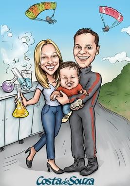 caricatura casal familia quadro