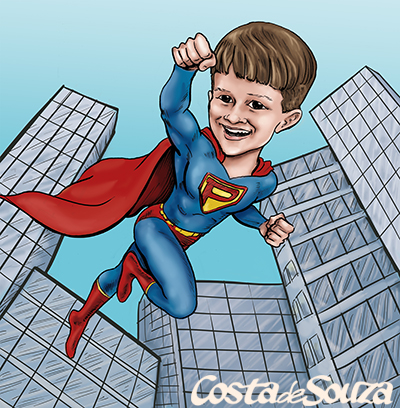 caricatura infantil super homem heroi
