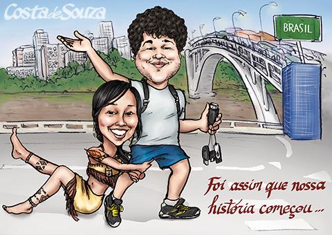 caricatura namorado presente aniversario