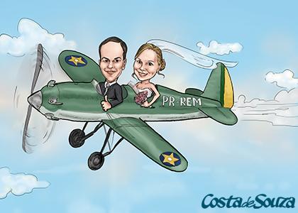 caricatura noivos casamento avião
