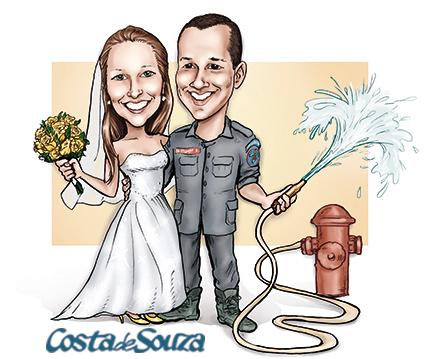 caricatura noivos casamento bombeiro