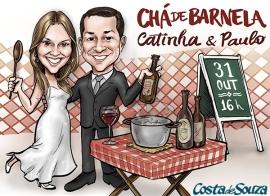 caricatura noivos casamento chá bar