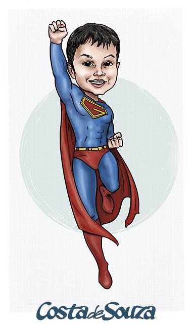 caricatura festa super homem
