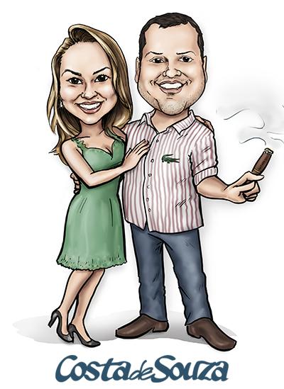 caricatura namorados casal noivos