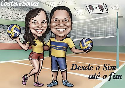 caricatura namorados voleibol vôlei presente