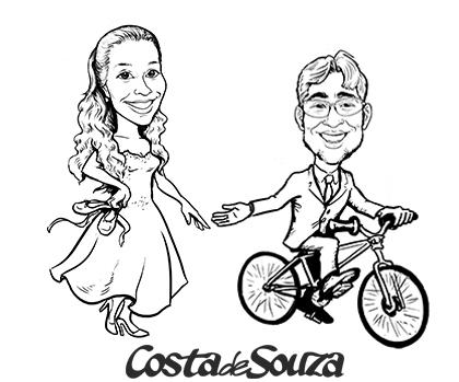 caricatura noivos bicicleta bale ballet