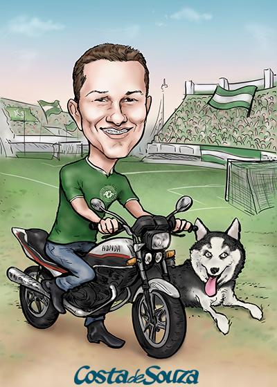 caricatura aniversario moto futebol
