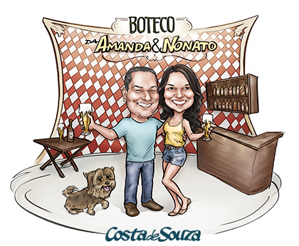 caricatura boteco festa casal