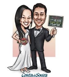 caricatura casamento noivos igreja