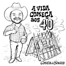 caricatura churrasco aniversario 40 anos