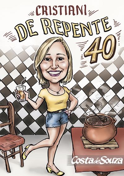 caricatura festa aniversario bar boteco